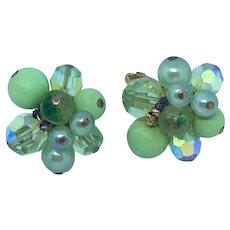 Signed Vendome Green Beaded Clip Earrings