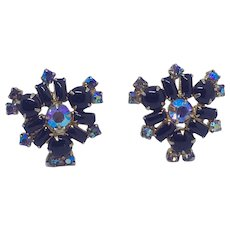 Black and AB Rhinestone Earrings Clip Aurora Borealis