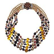 Vintage 5-strand bead necklace faux Pearl Blue Amber Glass