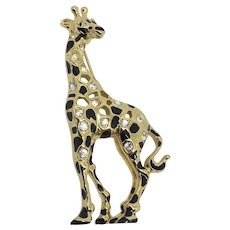 772801495 Swarovski Giraffe Pin Swan-signed Black enamel Crystals : Misty Lane Vintage  | Ruby Lane