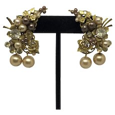 Vintage Filigree Climber Earrings Faux Pearls Flowers Clip