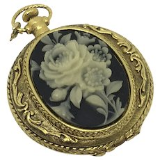 "Max Factor ""Golden Floral"" Compact Pocket Watch style Cameo"