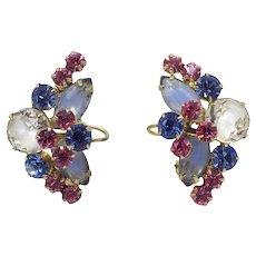 Juliana D&E Pastel Earrings Wire-Over Givre Rhinestones Pink Blue