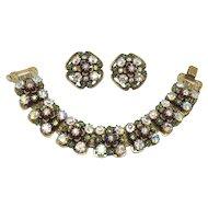 Florenza Green Demi-parure Bracelet Earrings Rhinestones Signed