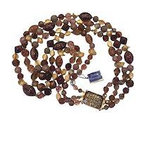 Hattie Carnegie Triple Strand Necklace Bronze Glitter Glass Beads