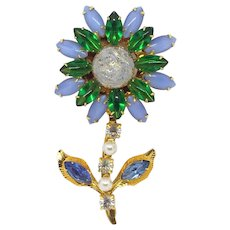 Large Rhinestone Flower Pin with Czech Molded Glass Center Stone gilt Blue Green