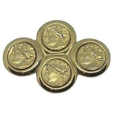 Kenneth Jay Lane Roman Coins Brooch Pin KJL