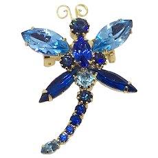Blue Rhinestone Dragonfly Pin Mid-century Unsigned