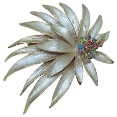 Kramer Enamel Flower Pin Brooch Multi-color Rhinestones