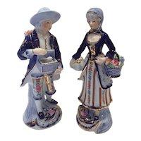 KPM Courting Couple Figurines flowers Cobalt Blue bunny gold trim