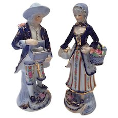 KPM Courting Couple Figurines flowers Cobalt Blue bunny gold trim