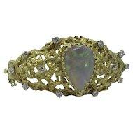 Black Crystal Opal & Diamond Hinged Bangle Bracelet Nugget Style 18k pure gold