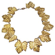 Bright Maple Leaf Collar Necklace Gold-tone