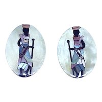 Mother of Pearl Inlay African Woman Post earrings