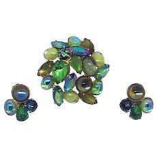 Mid-century Green Rhinestone Demi-parure Set Pin & Earrings