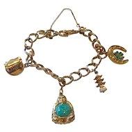 Monet Bracelet w/Buddha, pagoda, lucky clover, Sterling Streetcar CHARMS