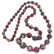 Italian Millefiori Glass Bead Necklace  Vintage Estate Cane long