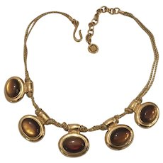 Rare Givenchy Necklace Golden Metallic Cords Chocolate cabochons Knotted Rope