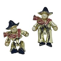 Pair Articulated Scatter Pins Figural Enamel Men Hats Scarves Black Red