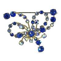 Austrian Blue Rhinestone Pin AB crystals Loops Wires