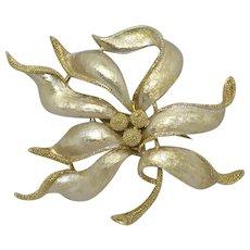 Scarce Coro Large Enamel Leaf Brooch Pin Creamy White Signed