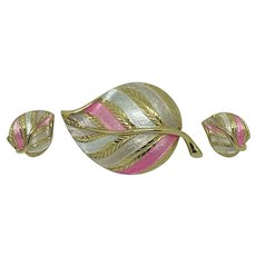 Pink White Enamel Turning-Leaf Set Pin Earrings Demi-parure