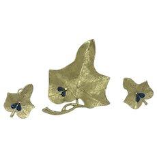 Signed Leaf Demi-parure by BSK with blue Rhinestone Fly/bug