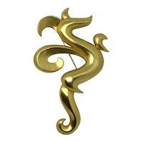 Jonette Jewelry Stylized Dragon Large Gold-tone Brooch/pin 1986 Figural