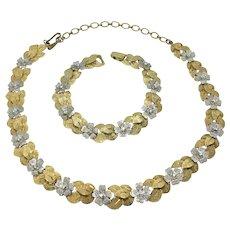 Kramer Demi-Parure 2-Tone Floral Necklace Bracelet AB Rhinestones Gold-tone
