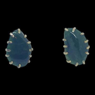 Signed Kramer Green Natural Stone Clip Earrings Gold-tone