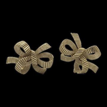 Trifari Gold-tone Bow Earrings Clip