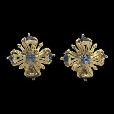 Elegant Mid-century Clip-back Blue Rhinestone Earrings