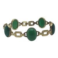 Gold-Filled Engel Brothers Green Stone Art Deco Bracelet Elegant