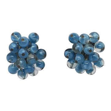 Vintage Blue Art Glass Bead Cluster Earrings Clip-back