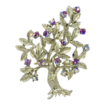 Tree Pin AB Pink Rhinestones Gold-tone Sparkly