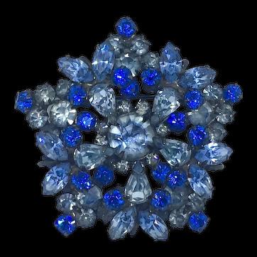 Super Rare Juliana D&E Blue Rhinestone Pin/Brooch Delizza and Elster Vintage rhinestones