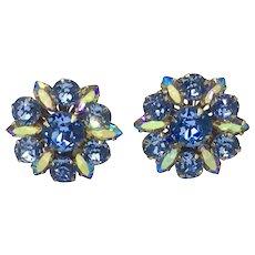 Blue Rhinestone Earrings AB Aurora Borealis Mid-century Clip
