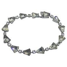 Vintage Clear rhinestone Bracelet unusual shape Elegant