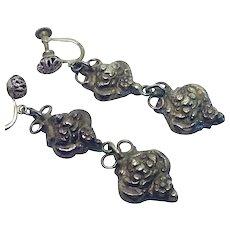 Cast Sterling silver Nepalese or Tibetan earrings Dangle vintage Screw-back