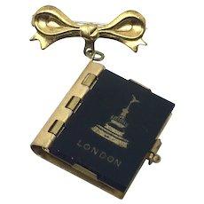 "London Souvenir Brooch Pin Book of ""postcards"" England Photo"