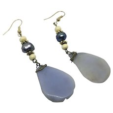 Upcycled Purple Natural Stone Petal Earrings Lavender potato pearl Hook