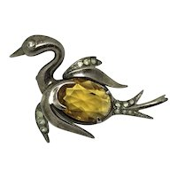 """Sterling Swan Pin Faceted Crystal """"belly"""" Yellow Amber Glass Rhinestone"""