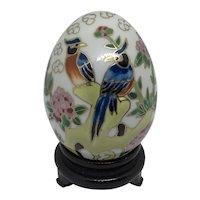 Enamel Egg Birds & Flowers Blue Gold-tone Chinese