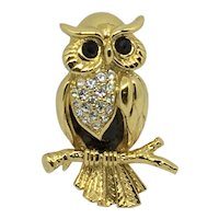 Swarovski Wise Owl Pin/brooch Swan-signed Gold-plated Figural Crystal