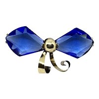 Large Blue Gold-filled Crystal Blue Bow Brooch Pin Art Deco