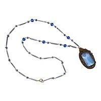 Czech Necklace Long Beaded  Blue Crystal Bohemian Filigree Art Deco Czechoslovakia