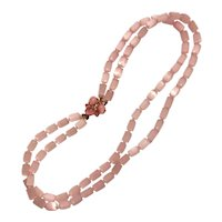 Pink Necklace Double Strand Cat's Eye Beads Fiber Optic
