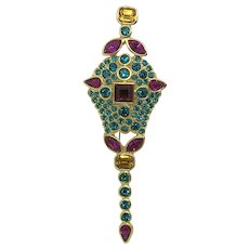 Yves Saint Laurent Large Statement Brooch Colorful Pink Teal Yellow Rhinestone Gold-tone