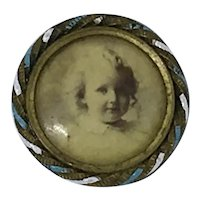 """Antique Victorian Photo Pin Young Girl Enamel """"Pin Lock"""" Mourning Brooch"""
