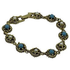 Goldette Bracelet faux turquoise and simulated pearls in gold-tone Elegant